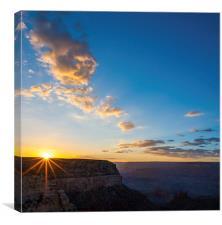 Grand Canyon Sunset starburst, Canvas Print