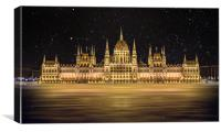 Budapest Parliament Building At Night, Canvas Print