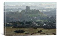 Corfe Castle from the Langton road, Canvas Print