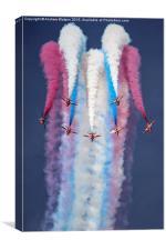 RAF Red Arrows Champagne Split - RIAT 2014, Canvas Print