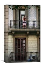 Woman on Balcony, Canvas Print