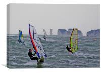 Windsurfers at Sandbanks , Canvas Print