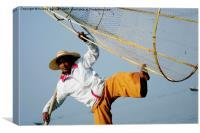 Burmese Fisherman, Canvas Print