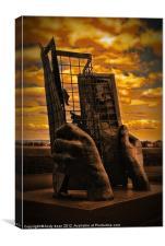 Hand Sculpture at Minehead, Canvas Print
