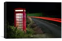 Red Phonebox At Night, Canvas Print