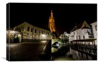 Bruge Canel At Night, Canvas Print