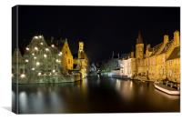 Bruges Dijver Canel At Night, Canvas Print