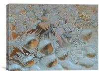 Sunrise through a frosty window , Canvas Print