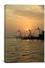 Chinese Fishing Nets at Cochin, Canvas Print