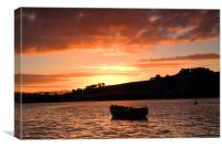 Sunset over the Teign , Canvas Print