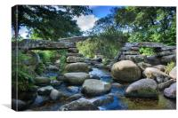 Dartmeet Clapper Bridge, Canvas Print