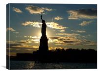 Statue of Liberty Silhouette, Canvas Print