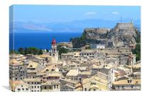 Corfu Town rooftops and Fortress, Canvas Print