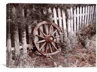 Picket Fence Cart wheel, Canvas Print