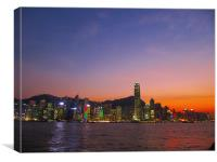 Hong Kong City Sunset, Canvas Print