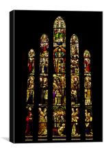 St Marys Monastery Stain Glass Window, Canvas Print