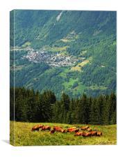 French Alpine Village, Canvas Print