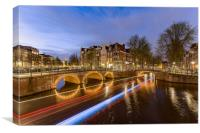 Amsterdam canal by night, Canvas Print