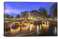Sunset and night time at Amsterdam, Canvas Print