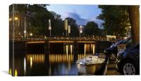 Amsterdam Canal At Night, Canvas Print