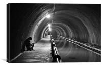 Shooting in the fibonacci tunnel, Canvas Print
