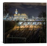 Waverley Station and The Balmoral Hotel., Canvas Print