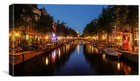 Amsterdam night Canal Scene, Canvas Print