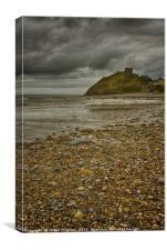 Criccieth Beach, Criccieth Castle North Wales, Canvas Print