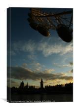 London Eye with Big Ben, Canvas Print