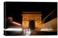 Arc de Triomphe at night, Canvas Print