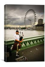 Westminster Bridge Piper, London, Canvas Print
