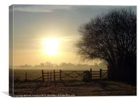 Frosty winter morning, Canvas Print