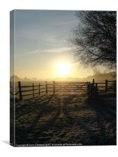 Frosty sunrise in Runnymede, Canvas Print