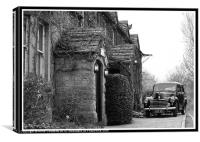 Old car outside Dorset Pub, Canvas Print