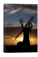 Thurne Mill Silhouette, Canvas Print