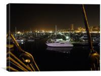 Alicante Marina at Night, Canvas Print