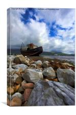 Fishing Boat Aground near Fort William, Canvas Print