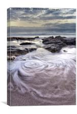 Swirling Wave on the Beach, Canvas Print