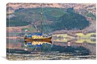 Wooden Yacht Moored By Glencoe, Canvas Print