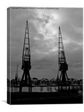 Cranes at London Docklands, Canvas Print
