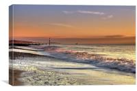 Pink Surf at Bournemouth, Canvas Print