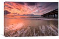 Lone surfer at sunrise, Canvas Print