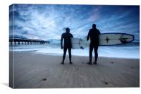 Surfers at Dawn Boscombe Pier, Canvas Print