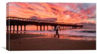 Surfer at Sunrise Bournemouth Beach, Canvas Print