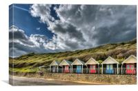 Clouds, beach huts and light, Canvas Print