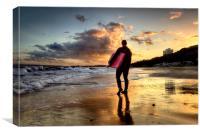 Surfer at Sundown, Canvas Print