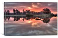 Misty Morning Sunrise at the Pond, Canvas Print