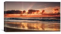 Paddle Boarder at Sunrise, Canvas Print