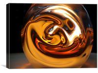 Warm Swirly globe on desk, Canvas Print