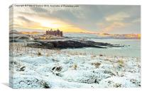 Dawn Snow at Fistral, Canvas Print
